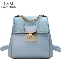 Luxy Moon Multifunction Backpack Women High Quality PU Leather Rucksack Female 2018 Chains Bag Girls Bling