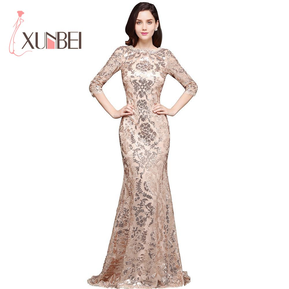 Robe de Soiree Longue Elegant Mermaid Gold Sequined Evening Dresses 2017 3/4 Sleeves Cheap Prom Dresses Party Dresses  ...