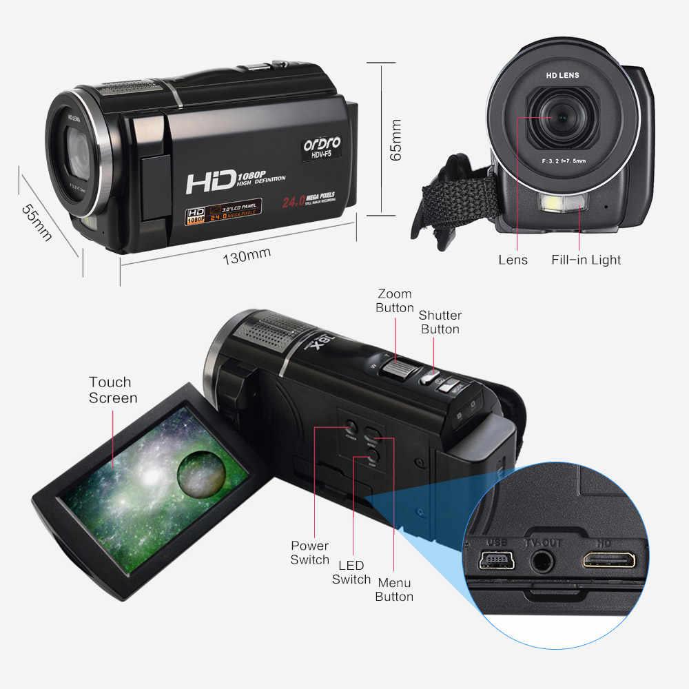 """ORDRO HDV-F5 1080P cámara de vídeo Digital 24MP 16X Anti-shake, 3,0 """"Pantalla táctil giratoria LCD videocámara DV con el controlador remoto"""