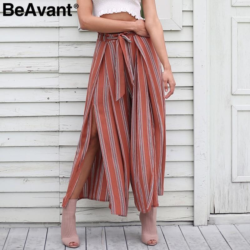 BeAvant spaccatura Sexy gamba larga pantaloni a righe donne Estate 2018 nuovo casuale pantaloni a vita alta Elastico chic pantaloni spiaggia pantaloni femme