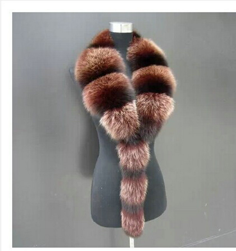 eea83da8f60 Scarves   Wraps fashion Natural fox fur Collar Scarf placket large fur  collar fox fur tie in winter men and women-in Women s Scarves from Apparel  ...