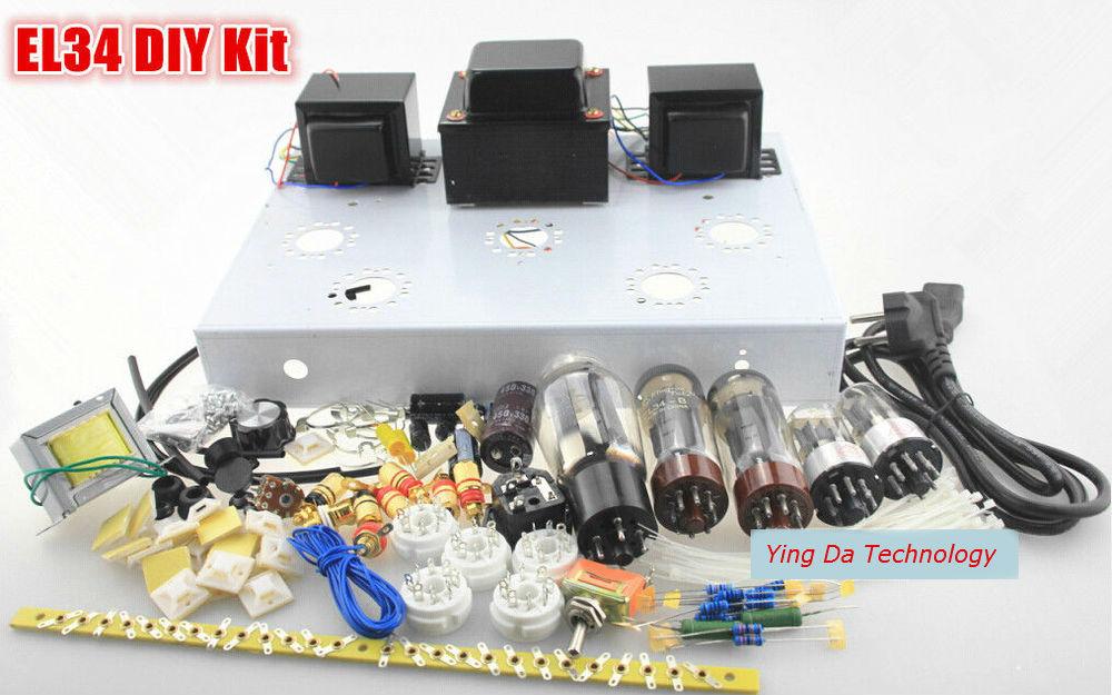 NOVA Classe A Single-ended EL34 Tubo Amplificador Estéreo HiFi DIY Kit 1 Conjunto