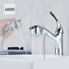 MOIIO Chrome Bathroom/Kitchen Faucet Pull Out Washing Tap Deck Mounted Stream Sprayer Pull Down Spout Kitchen Sink Mixer Faucet цена и фото