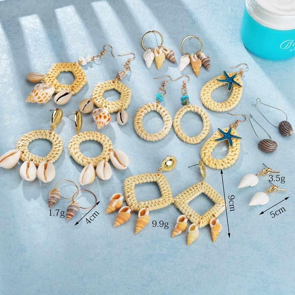 Trendy โบฮีเมียรอบเรขาคณิตหวายฟางสานถัก Vine พู่ต่างหูผู้หญิง Handmade Drop ต่างหูเครื่องประดับขายส่ง