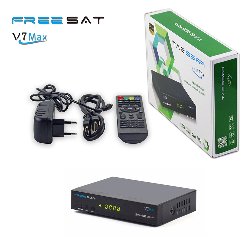 Free sat V7 Max FTA DVB-S2 Satellite TV Receiver 1080P HD Receptor Decoder Support Ccamd BISS PowerVu AC3 Youtube Set top box