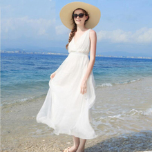 Women Silk dress White Beach 100% Natural Solid Holiday summer dresses V-Neck Sleeveless Free Shipping HOT Sell