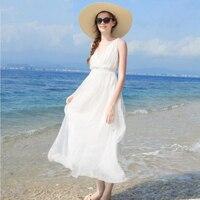 Women Silk dress White Beach dress 100% Natural Silk Solid dress Holiday summer dresses V Neck Sleeveless Free Shipping HOT Sell