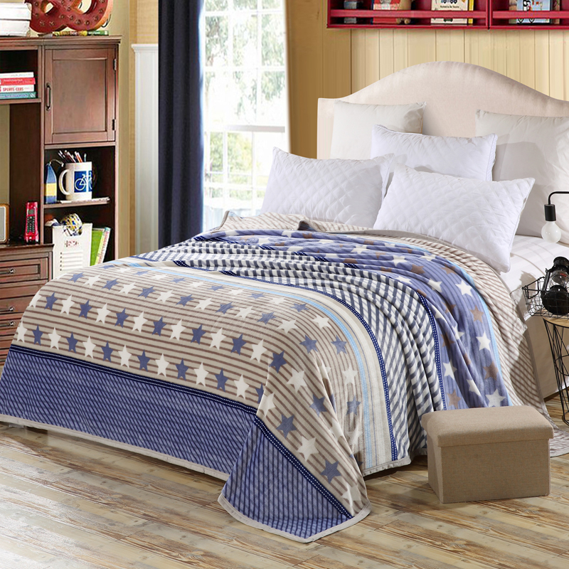 Color Stitching Star Pattern Bedspread Blanket High Density Super Soft  Blanket To On For The Sofa/Bed/Car Portable Plaids Soft