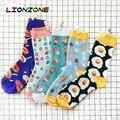 LIONZONE New Arrival Unisex Happy <font><b>Socks</b></font> Men&Women Art Abstraction Creative Foods Pattern Donut Cake Toast Poached Egg <font><b>Socks</b></font>
