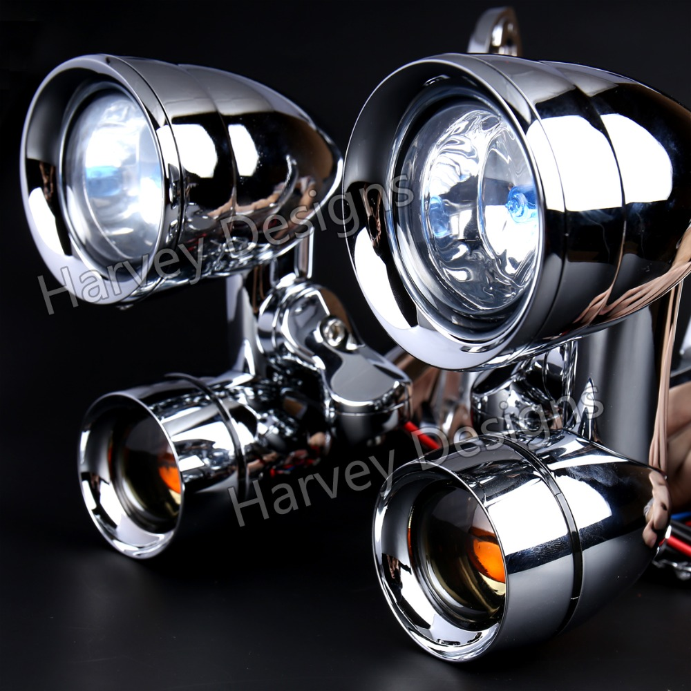 New Chrome Fairing Mounted Driving Lights With Smoked Turn Signals For Harley 96 13 Street Glide