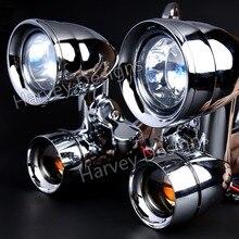 Nova carenagem chrome montado luzes de condução com fumado sinais de volta para harley 96 13 street glide & 96 18 road king flhr modelos