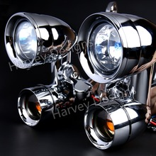 Nowa osłona chromowa zamontowane światła do jazdy z wędzonymi kierunkowskazami dla Harley 96 13 przemieszczanie się po ulicy i 96 18 modeli Road King FLHR