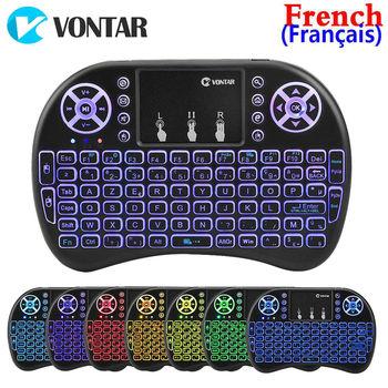VONTAR rétro-éclairé i8 Mini clavier sans fil 2.4GHZ langue française Air souris Touchpad Normal I8 télécommande pour Android TV Box
