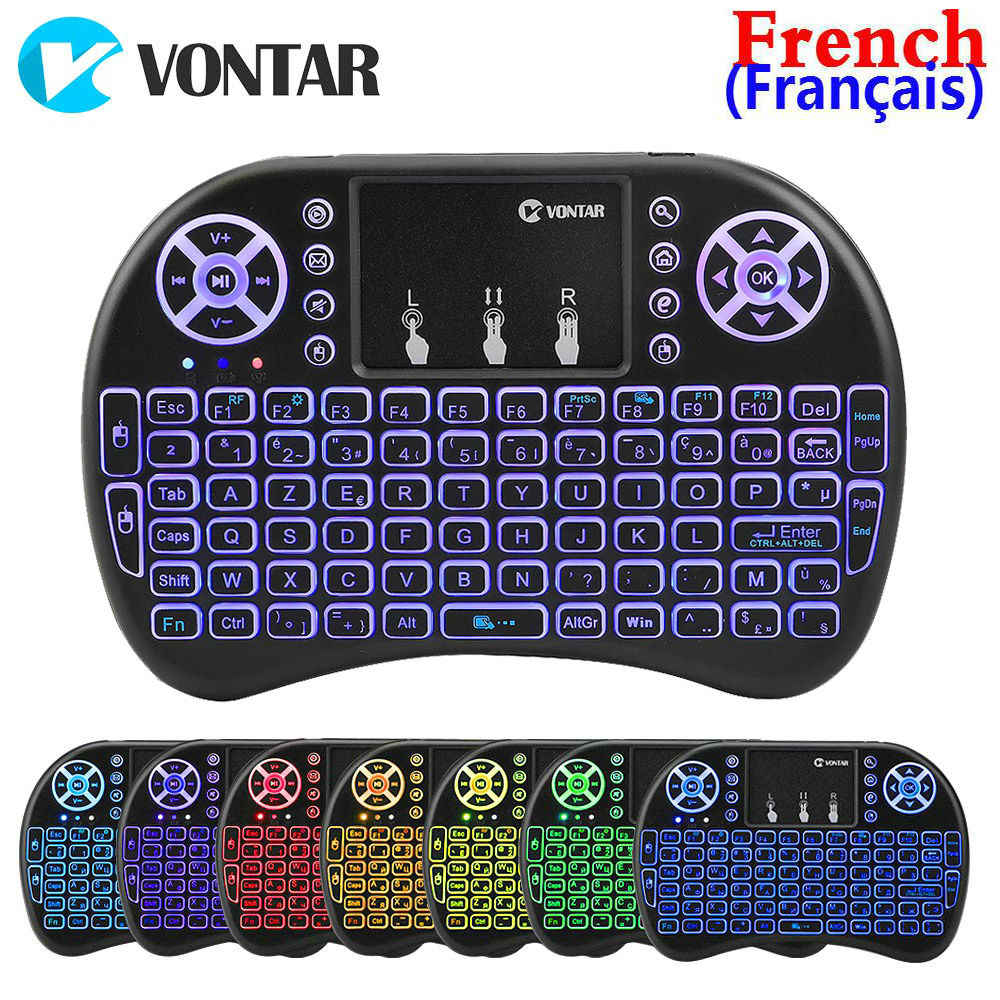 Vutar retroiluminado i8 Mini teclado inalámbrico 2,4 GHZ idioma francés Air Mouse Touchpad Normal I8 Control remoto para Android TV Box