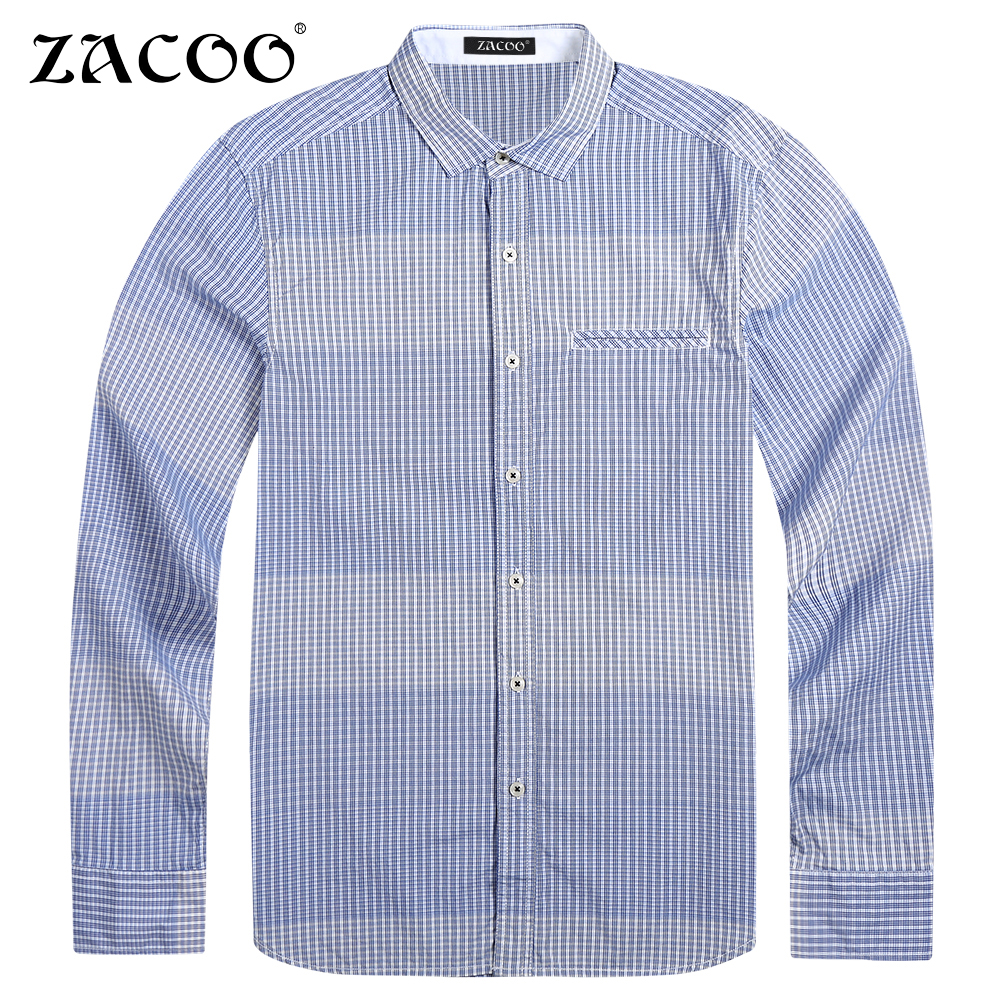 Zacoo brand clothing striped shirt men long sleeve spring for Top dress shirt brands