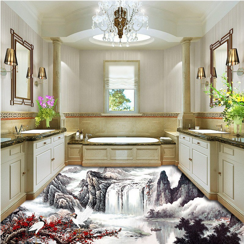 ФОТО Free Shipping 3D landscape flooring painting bedroom park decorative self-adhesive living room bathroom kitchen floor mural