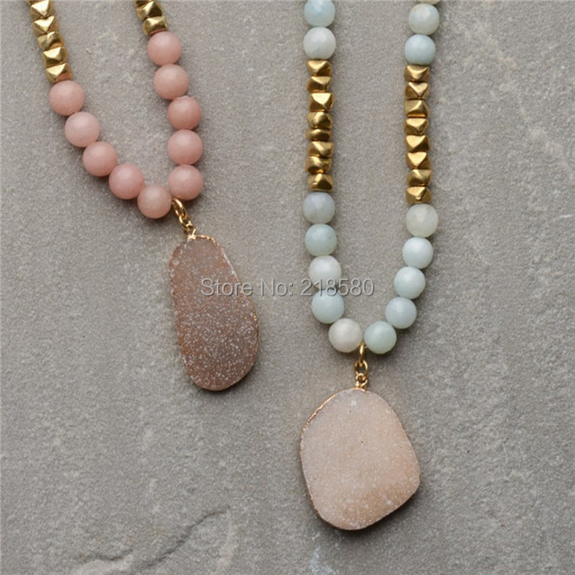 Pink jades amazonite beads or created picture jaspers beads agates pink jades amazonite beads or created picture jaspers beads agates druzy pendant gold chain necklace n15051210 aloadofball Image collections