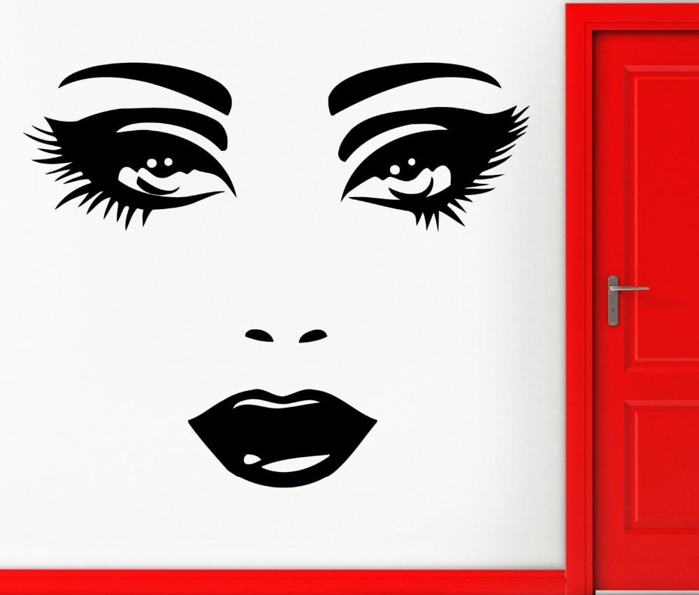 Girls Beauty Salon Wall Decal Hot Woman Face Vinyl Home