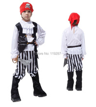 Free Shipping Halloween cosplay costume Children's Vikings pirate clothing kids Pirates of the Caribbean dress clothes COS