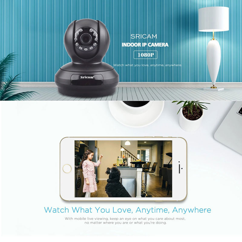 Sricam 4X 2.0 MP Smart Home CCTV Camera Indoor Mini PTZ Wifi Surveillance IP Cam Night Vision Alarm Two Way Audio Baby Monitor