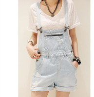Blue 2016 Spring Summer Overalls Denim Shorts Women Simple Loose Fit Bib Short Casual Short Jeans