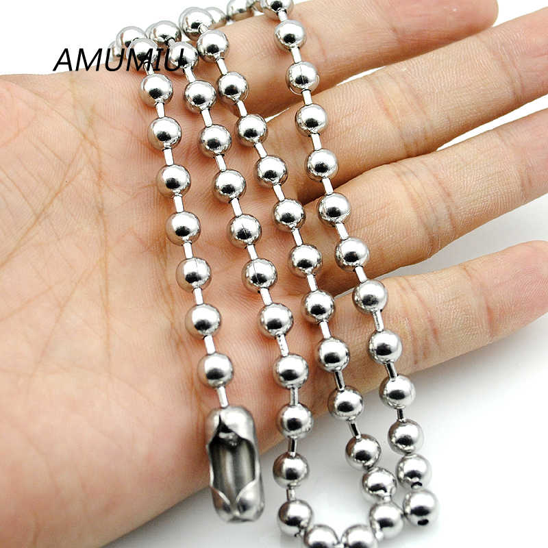 AMUMIU 6mm MENS BALL CHAIN NECKLACE,40cm-70cm, Stainless Steel necklace, wholesale HZN017