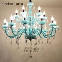 Mediterranean Blue crystal chandelier living room bedroom coffee shop European luxury LED crystal chandelier free shipping