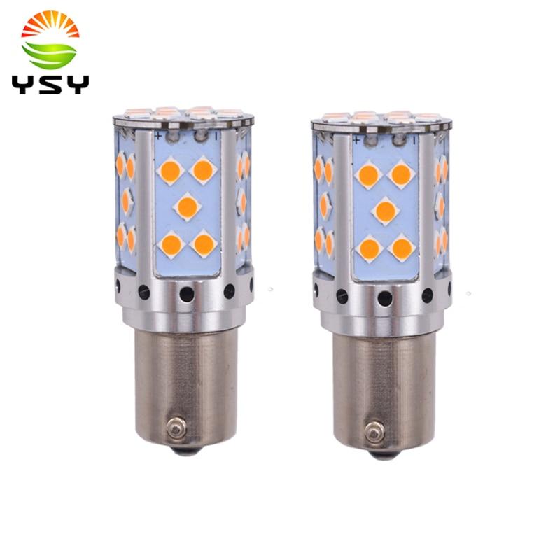 купить YSY 2pcs 1156 P21W LED PY21W LED Canbus Error Free BAU15S LED No Hyper Flash Amber Yellow 3030 LED Bulbs For Turn Signal Lights по цене 774.79 рублей