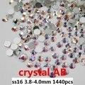 Arte Non Hotfix Cristal Pedrinhas Para Unhas 1440 pcs ss16 3.8-4.0mm cristal AB Plano Voltar Cole Em Contas de Vidro Diy Jóias fazendo