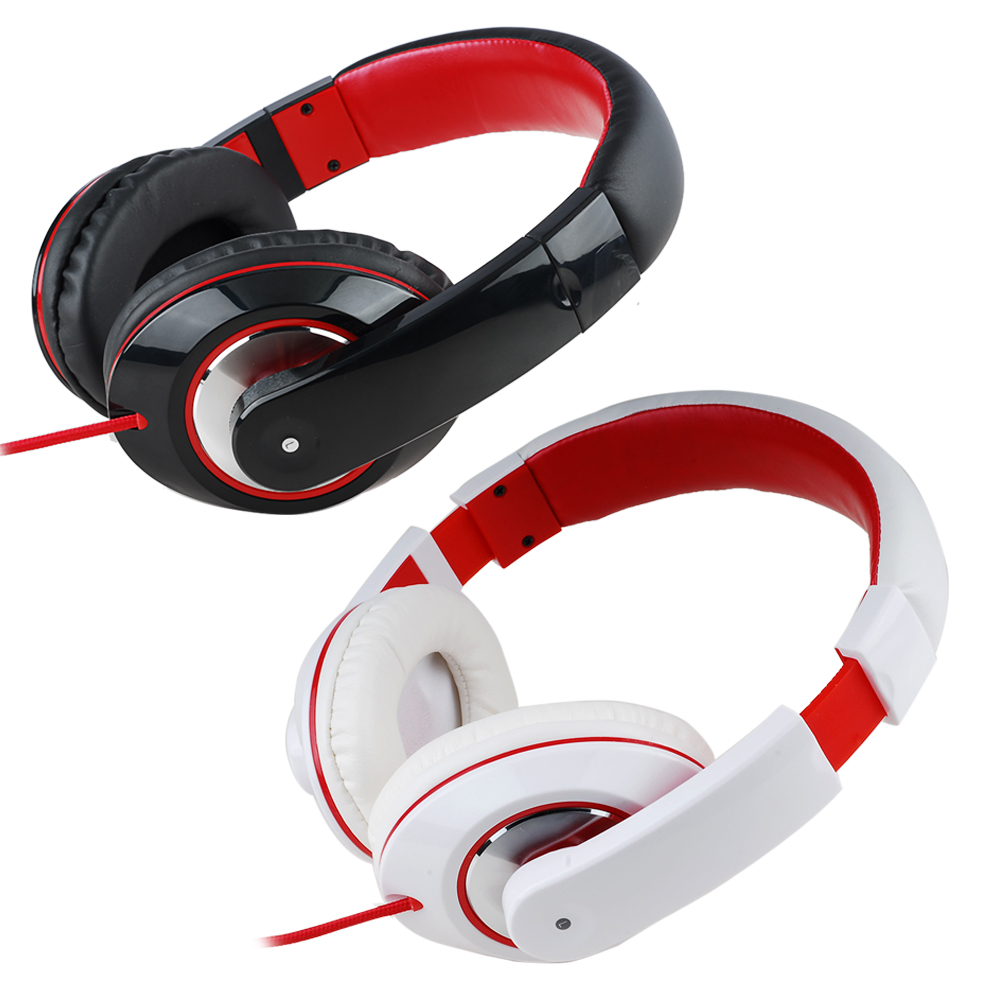 3.5mm AUX Jack Wired Headphone Super Bass Stereo Headset Gamer Movie Headband Earphone with Directional Microphone White Red bcmaster wired chat gaming headset stereo headphone earphone with mic microphone for sony playstation ps4 ps3 super bass