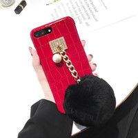 Luxury Crocodile PU Leather 3D Fox Ball Mobile Phone Housing For IPhone6 6S 6Plus Funny Protective