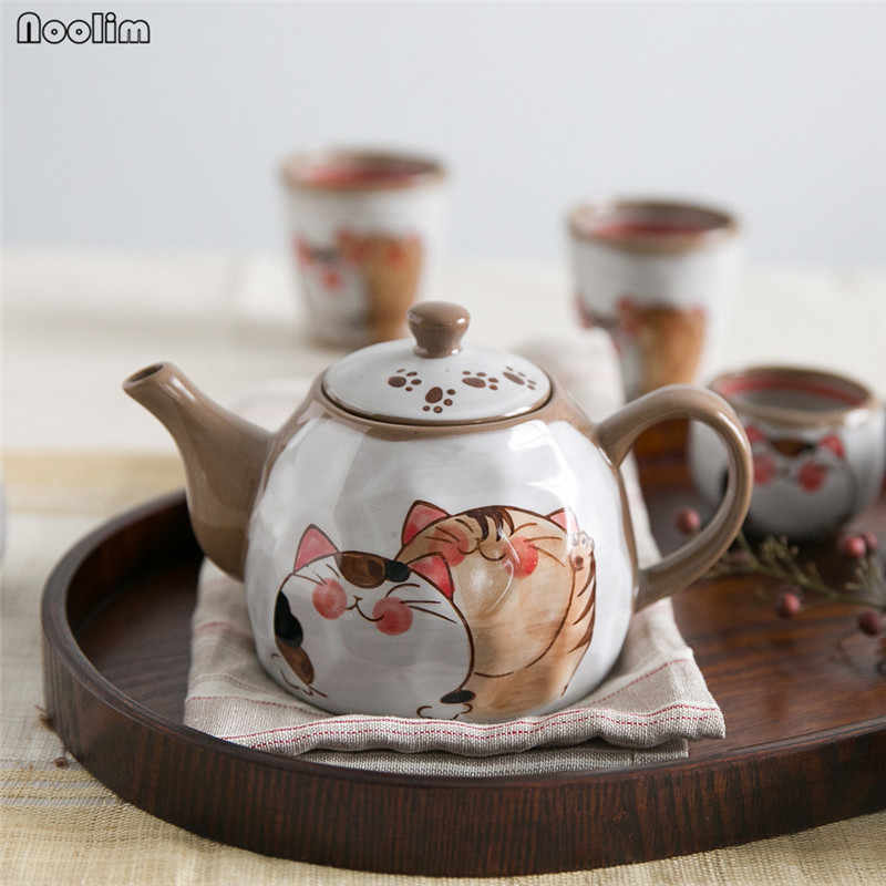NOOLIM Japaneses Clay Cute Cat Tea Pot Tea Cup Water Cup Brown White Ceramic Porcelain Kettle Drinkware Tea Accessories