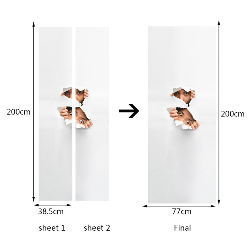 Image 3 - Peeping Eyes Funny Occation 3D Wall Door Sticker Living Room Bedroom Wall Decals Home Decor PVC Imitation 3D Door Stickers-in Door Stickers from Home & Garden