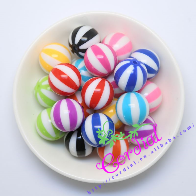 Free Shipping 20mm 105pcs lot Mix Color Large Chunky Beads Style Round Watermelon Resin Beads For