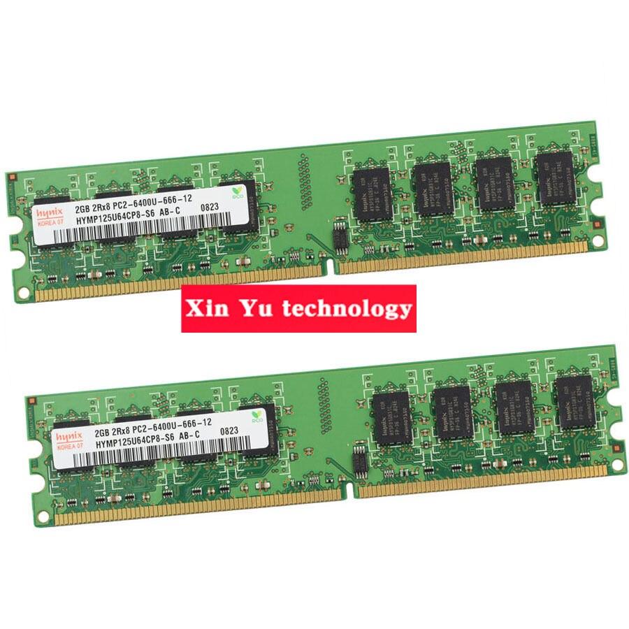 Escritorio memoria garantía de por vida para Hynix DDR2 2 GB 4 GB 800 MHz PC2-6400U 800 2G RAM del ordenador 240PIN Original auténtico
