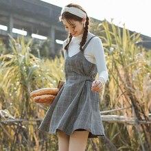 女性のドレス日本の原宿オルパンクカジュアルチェック柄ストラップドレス女性韓国かわいいかわいい服女性