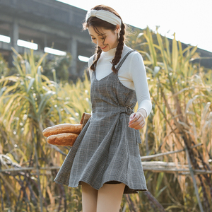 Women's Loose Dresses Japanese Harajuku Ulzzang Punk Casual Plaid Strap Dress Female Korean Kawaii Cute Clothing For Women(China)