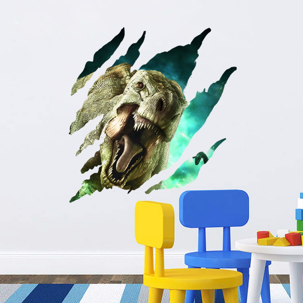 Creative home decor 3d break wall sticker torn walls dinosaur creative home decor 3d break wall sticker torn walls dinosaur pattern for children baby room mural art wallpaper 50x52 cm in underwear from mother kids on amipublicfo Image collections