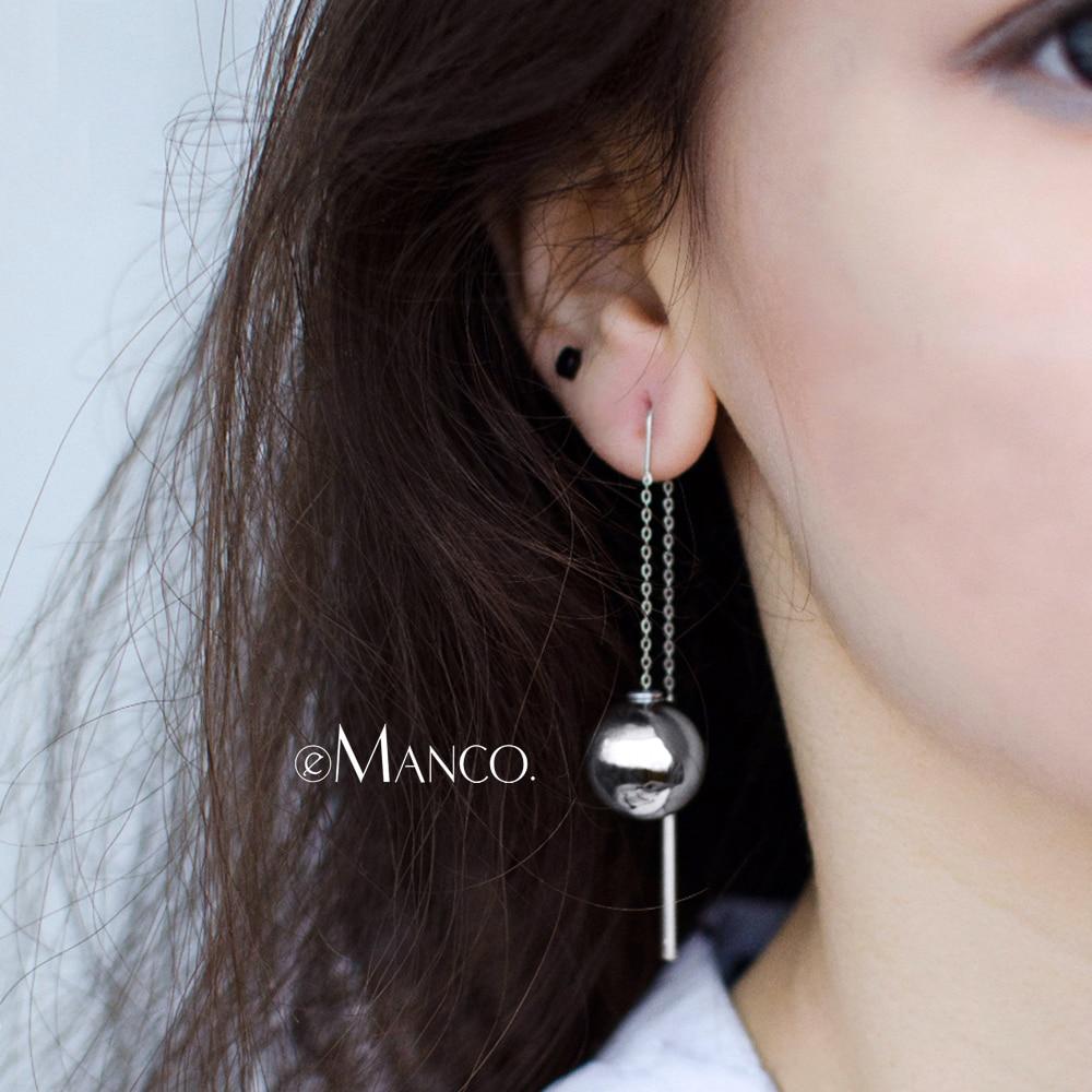 eManco Minimalist Beads Drop Earrings for Women Pearl& Acrylic Pierce Hanging Sliver Earrings 2018 Fashion Jewelry Wholesale sliver faux pearl drop earrings