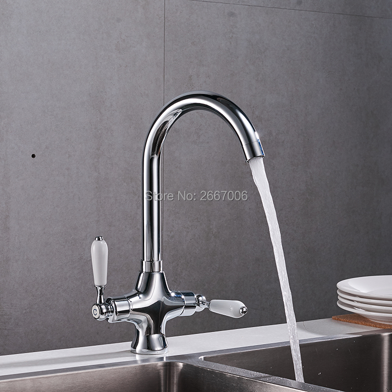Free Shipping Silver Color Faucet Swivel Spout Double Handles Control Bathroom Kitchen Vanity Sink Mixer Tap Deck Mount GI2081