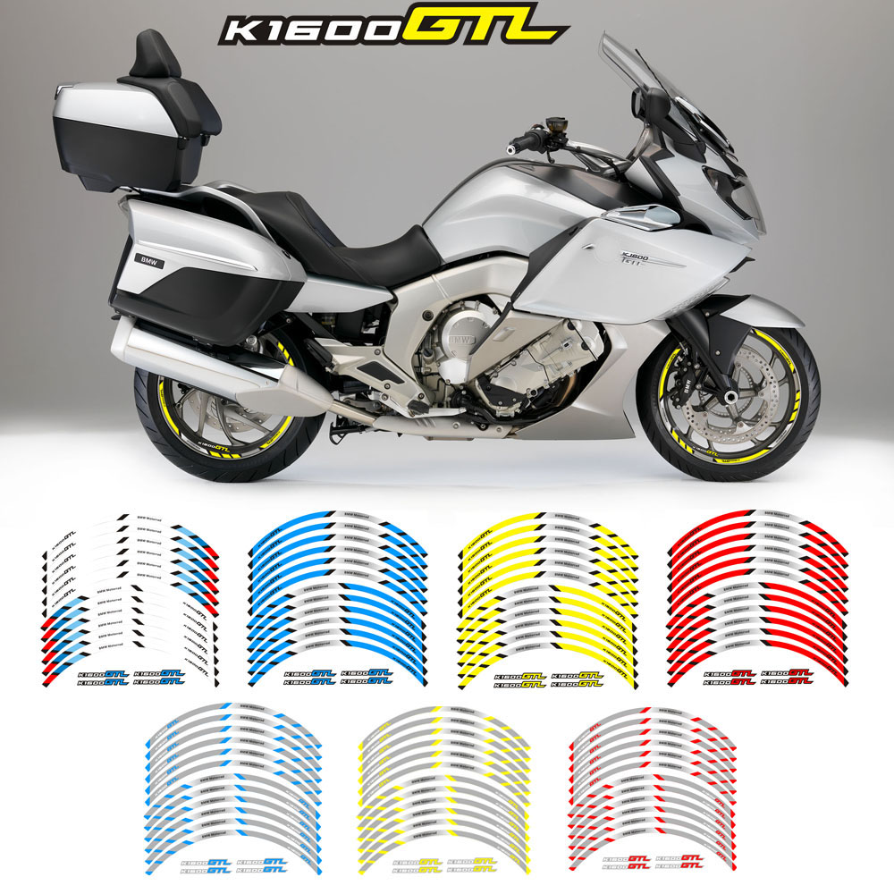 High Quality New 12Pcs Thick Edge Outer Rim Sticker Stripe Wheel Decals For BMW K1600GTL