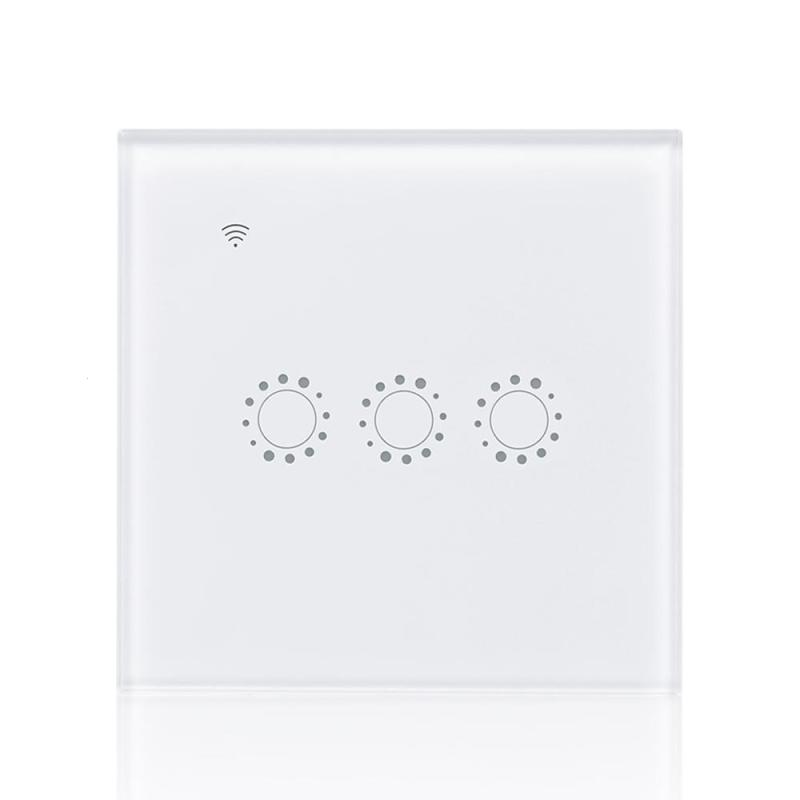 QIACHIP Wireless WiFi Switch 3 Gang Light Wall Switch APP Remote Control Work with Amazon Alexa Google Home Smart Touch Panel jinvoo app us type smart wifi switch 2 gang 1 way touch panel wireless remote wifi light switch works with alexa google home
