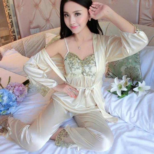 3pcs/set Women Silk Satin Sleepwear Sexy Sling Tops+Coat+Pants Outfits 3