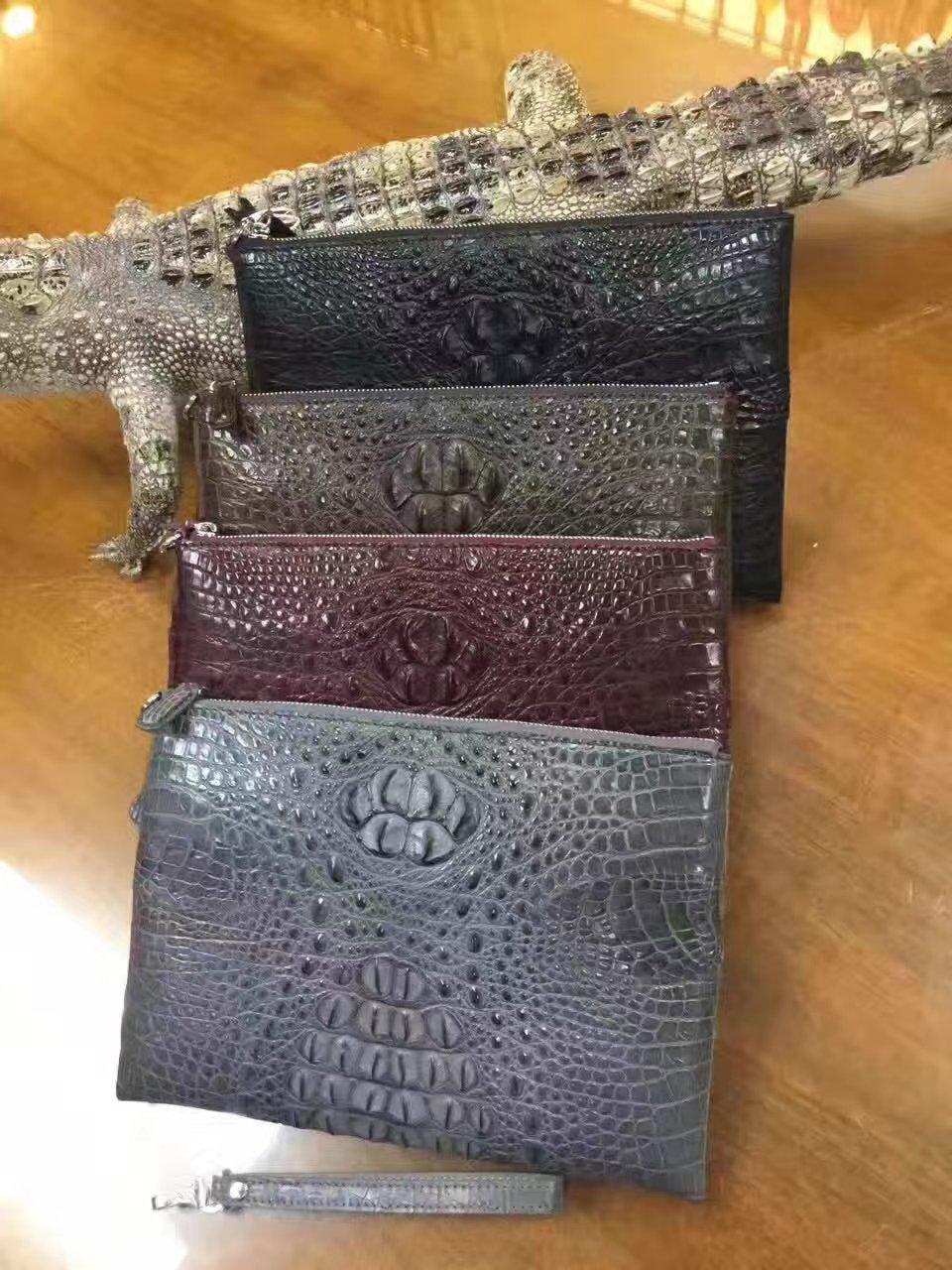 100% véritable peau de crocodile en cuir long hommes portefeuille embrayage, peau d'alligator hommes carte bancaire porte-carte de crédit visa titulaire argent