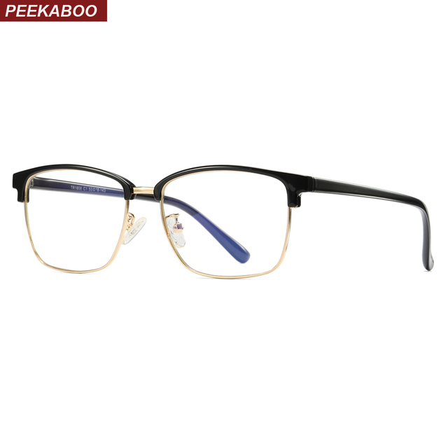 b529a9eee3 Peekaboo square men glasses frame optical tr90 half frame semi rimless anti  blue light glasses for women unisex black gold
