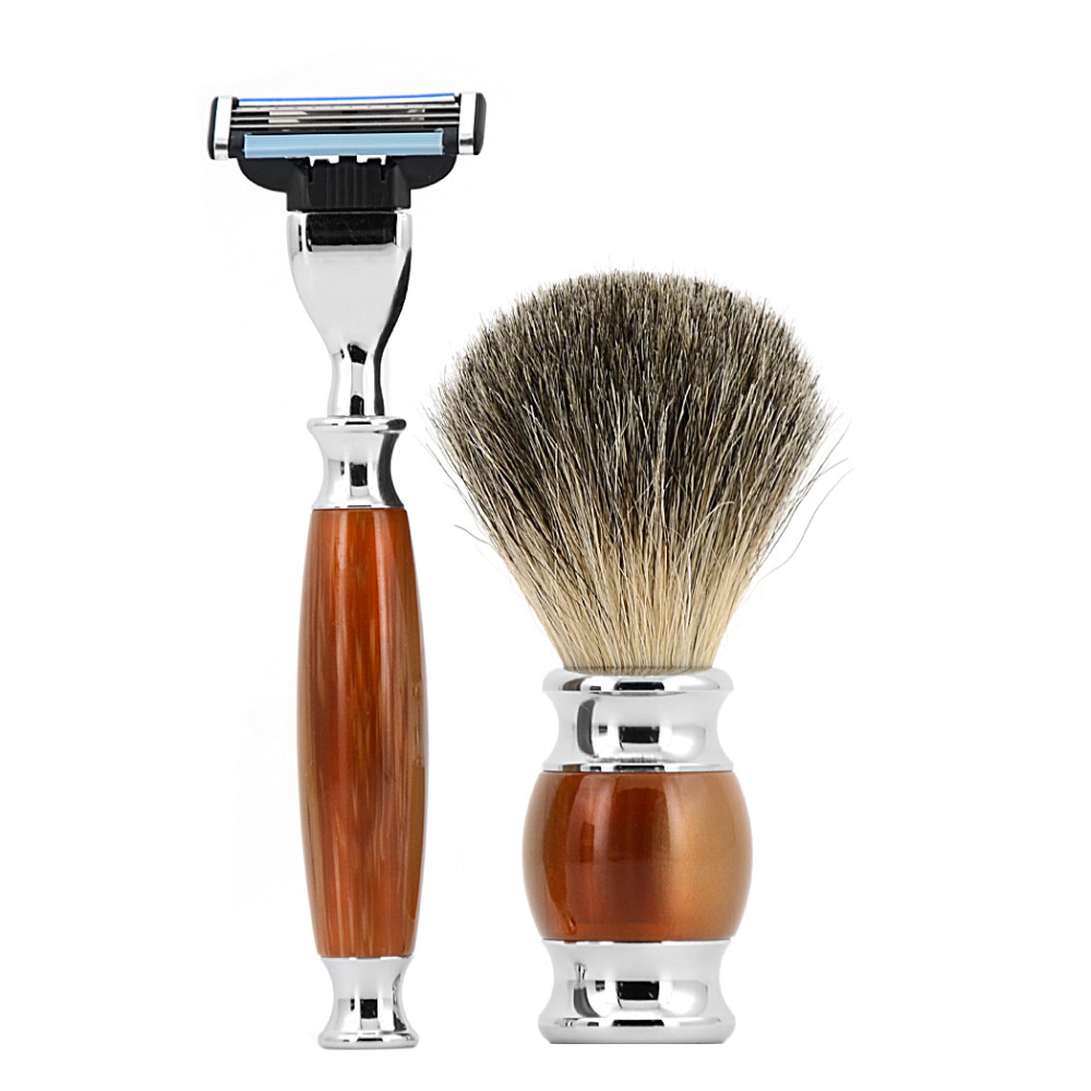 Mens Razor 2pcs/Set 3 Layer Safety Razor Kit Top Quality Badger Shaving Soap Brush Set For Shaving +Free Gift Box