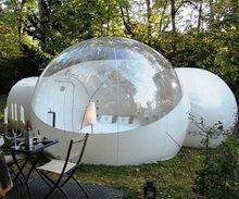 خيمة لنفخ الفقاعات واضحة مع نفق للبيع الصين الصانع ، خيام قابلة للنفخ للمعارض التجارية ، خيمة حديقة قابلة للنفخ