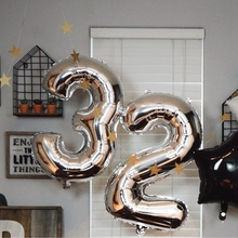 32inch Gold Silver Number Foil Balloons Digital Air Happy Birthday Wedding Decoration Letter balloons Party Supplies