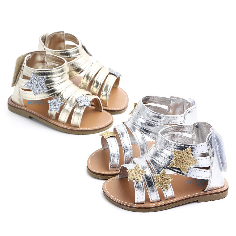 Baby Girl Summer Sandals Gold Silver Roman Princess Prewalker Mini Melissa Kids Shoes Leisure For Baby Boy Toddler Trainer Child