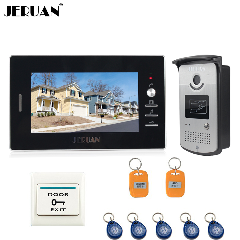 JERUAN 7 inch TFT Screen Video doorbell Intercom System Waterproof Access IR Night Vision COMS Camera FREE SHIPPING 7 inch screen indoor unit wired video intercom doorbell villa unlocking access control rain with night vision